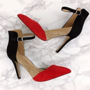 Zara color block red black nude ankle strap heels